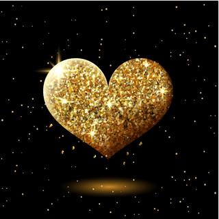 Golden glitter shining heart on black, abstract sparkling heart shape, festive valentines decor with gold lights, vector illustration.