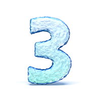 Ice crystal font Number 3 THREE 3D