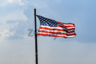 The flag of USA on a flagpole
