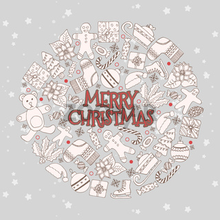 Vector pattern with hand drawn fir trees, gift, bows, christmas toys. Seasonal winter background on the white paper