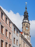 Historic buildings ant the tower of the town hall in the old town of Görlitz, Saxony, Germany