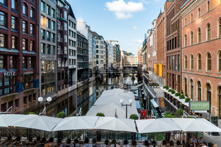 Scenic view of Bleichenfleet canal in Hamburg with luxury fashion stores
