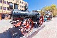 Bolivia Uyuni iron small historic locomotive in  railway avenue