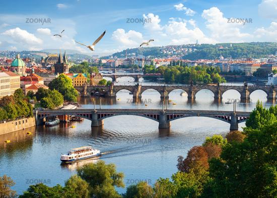 Row of bridges in Prague