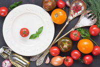 Assortment fresh colorful tomato and vegetable for salad