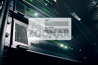 Server room, login and password request, data access and security.