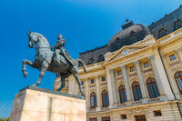 Equestrian Statue of Carol I in Bucharest, Romania. Equestrian Statue of Carol Ion a sunny summer day with blue sky in Bucharest, Romania