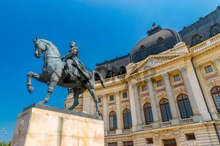 Equestrian Statue of Carol I in Bucharest, Romania. Equestrian Statue of Carol Ion a sunny summer day with blue sky in Bucharest, Romania