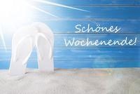Sunny Summer Background, Schoenes Wochenende Means Happy Weekend