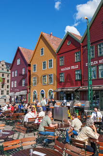 Restaurant with visitors at Bryggen in the city of Bergen, Norway
