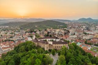 Panorama of the Slovenian capital Ljubljana at sunset.