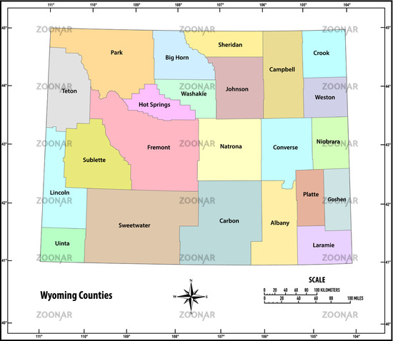 Wyoming state outline administrative and political map in color