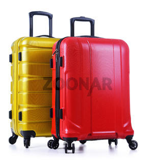 Travel suitcases isolated on white background.