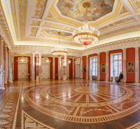 Moscow, Russia, 23 October 2019: Tavrichesky hall interior in State historical and architectural museum reserve Tsaritsyno, Russia. Tauride hall. Grand Palace in Tsaritsyno. Fragment of the interior