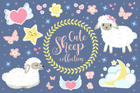 Cute sheep set objects. Collection design elements with lambs, hearts, stars, lovely flowers, moon. Good night concept. Kids baby clip art funny smiling animal. Vector illustration