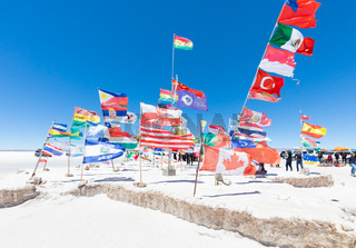 Bolivia Salar of Uyuni international flags