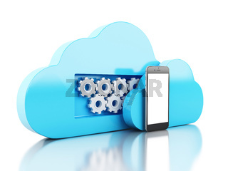 3d cloud symbol and smartphone. Cloud computing concept