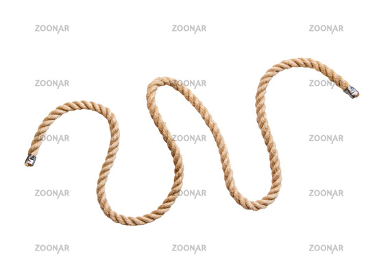 the hemp rope make curls, isolated on a white background