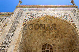 Details of Taj Mahal: Close-up of Painting, Motifs, Fresco and inscription on the wall. UNESCO World Heritage in Agra, India.