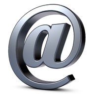 email symbol made of metal on white background - 3d rendering