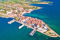 Town of Umag historic coastline aerial view
