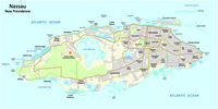 Map of Nassau capital of the Bahamas on the island of New Providence
