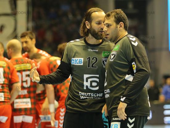 Handball Goalkeeper Silvio Heinevetter and Handball Goalkeeper Dejan Milosavljev all Füchse Berlin