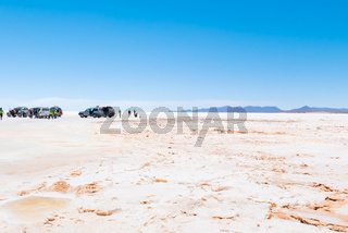 Bolivia Colchani tourists on tour in the Salar of Uyuni
