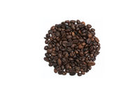 Circle shape made with some fresh roasted coffee beans isolated on white background