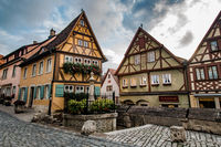 Medieval old street in Rothenburg ob der Tauber, Germany