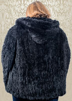 woman model wearing a mink fur jacket