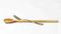 Wooden spoon and metal fork