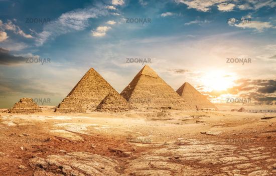 Pyramids and sky
