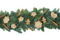 Christmas border of fir tree on white