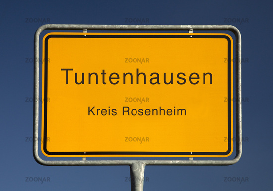 The place name sign, a municipality in the district of Rosenheim, Bavaria, Germany