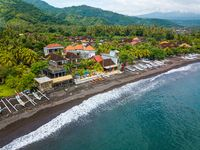Aerial view of Amed beach in Bali, Indonesia