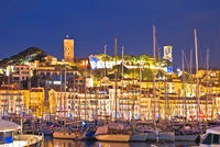 Cannes. Old town of Cannes and sailing harbor evening view, French riviera