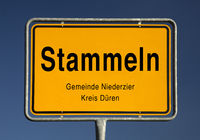 town entrance sign of Stammeln, part of Huchem-Stammeln, municipality Niederzier, Germany, Europe