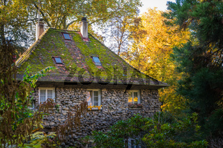 Large Old Stone House Forest Fantasy Fairy Tale German Forest Woods Cottage House Structure Green Autumn Fall Season Chimney Exterior
