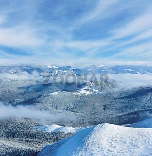 Morning winter mountain landscape