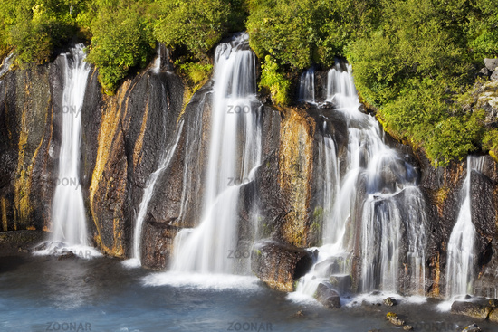 Waterfall Hraunfossar with the blue river Hvitá, West Iceland, Iceland, Europe