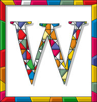 Letter W in stained glass