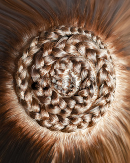 drawings made of hair, braids texture, close-up background of hair