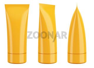 blank orange cream cosmetic or toothpaste tube isolated on white background