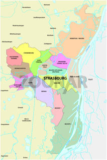 administrative and political map of the Alsatian capital Strasbourg