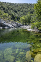 Natural Pure and fresh water pool of Travu River, Corsica, France