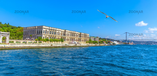 Dolmabahce Palace on the coast of the Bosphorus, Istanbul panorama