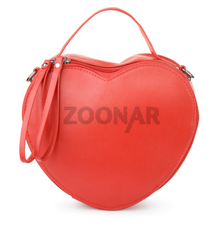 Red heart-shaped leather handbag