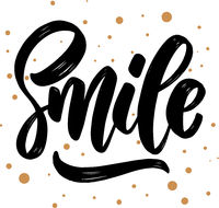 Smile. lettering phrase for greeting card, invitation, banner, postcard, web, poster template.