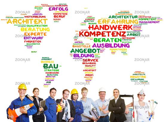 Internationales Handwerk weltweit als Team